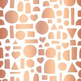 Rose gold foil geometric doodle shape seamless vector pattern. Hand drawn shiny metallic copper hearts, circle, rectangle abstract stock illustration