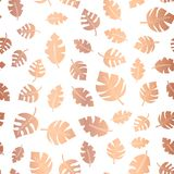 Rose gold foil leaves seamless background. Copper scatter. Ed leaf pattern. rose gold on white elegant backdrop for weddings, celebrations, party, card Royalty Free Illustration