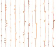 Rose Gold foil metallic abstract vertical lines seamless vector pattern.Copper wavy vertical stripes with twirl elements on white royalty free illustration