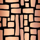 Rose Gold foil Rectangle shapes hand drawn abstract seamless vector pattern. Metallic shiny copper blocks on black background. stock illustration
