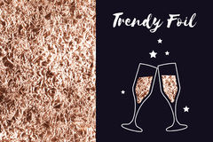 Rose gold foil texture, icon glasses of wine. Vector background of foil texture and icon glasses of wine. Rose gold and copper or bronze color. Sparkle wrinkled Stock Photo