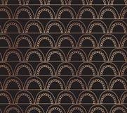 Rose gold foil Vector abstract seamless geometric doodle arches background. Copper arcs on black. Fish scale, elegant, oriental,. Art deco design. Celebration vector illustration