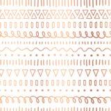 Rose Gold folie klottrar den sömlösa vektormodellen Kopparetniska stam- motiv Utdragna metalliska slaglängder för hand, linjer royaltyfri illustrationer