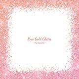 Rose gold glitter border frame with color effect on white background. Vector. Illustration vector illustration