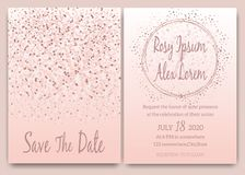 Rose gold glitter pink wedding card invitation.  stock illustration