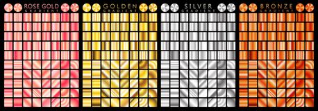 Rose gold, golden, silver, bronze gradient,pattern,template.Set of colors for design,collection of high quality gradients.Metallic. Texture,shiny background Stock Photos