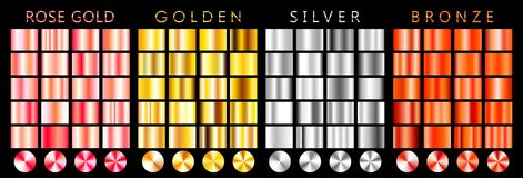 Rose gold, golden, silver, bronze gradient,pattern,template.Set of colors for design,collection of high quality gradients.Metallic royalty free illustration