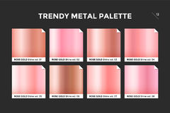 Rose gold gradient template, vector icon. Rose gold gradient template. Collection palette of pink gold metallic gradient swatches with gloss for backgrounds stock illustration