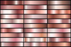 Rose gold gradients. Set of Realistic rose gold gradients. Vector metal collection for border, frame, ribbon design Royalty Free Stock Image