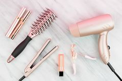 Free Rose Gold Hair Care And Beauty Products Stock Photos - 144713713