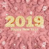 Rose Gold Happy New Year 2019 top view 3D illustration royalty free stock photography