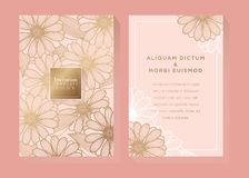 Rose Gold Invitation Template. Elegant floral invitation for wedding, engagement, or greeting card vector illustration
