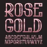 Rose Gold-lettersoort Gouden roze gevormde doopvont Geïsoleerd overladen Engels alfabet Royalty-vrije Stock Afbeeldingen
