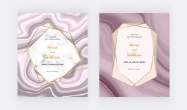 Rose gold liquid wedding invitation card with marble frame and golden lines. Cover ink painting abstract pattern. Trendy backgroun stock illustration