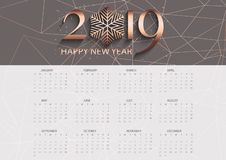 Rose gold low poly calendar design vector illustration