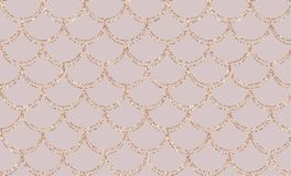 Rose gold mermaid tail seamless pattern. Elegance Mermaid card. Decor glitter elements. Fish scales magic card with rose golg scales . Design for textile Royalty Free Stock Image