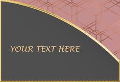 Rose Gold och Grey Text Background Template vektor illustrationer