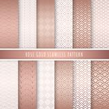 Rose gold pattern seamless collection. Pink gold abstract patterns. Set of 12 Metallic gold luxury background. For gift wrap, wallpaper, web banner background vector illustration