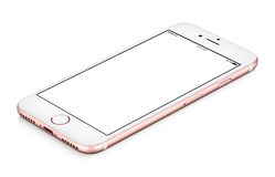 Rose gold phone mock-up CW rotated lies on the surface Royalty Free Stock Photography