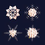 Rose Gold Snowflakes. Golden Glitter or foil Snow Flakes. Winter Holidays Decoration. Vector set. Gold Snowflakes. Golden Glitter Snow Flakes. Winter Holidays Stock Photo