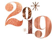 Rose Gold Textured 2019 New Year stock illustration