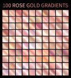 Rose Gold vector gradients collection for design. Rose Gold gradients collection for design. Collection of shiny pink rose gold gradient illustrations for vector illustration