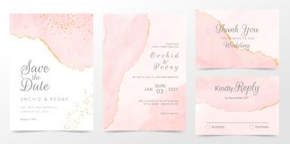 Free Rose Gold Wedding Invitation Cards Template Set. Artistic Watercolor Background Of Pink Brush Stroke Splash. Abstract Foil Design Stock Photo - 158777390