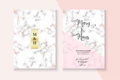 Rose Gold Wedding Invitation de mármol superior Cumpleaños, cosméticos, disposición del vector de la tarjeta de regalo Sistema ge fotos de archivo