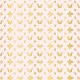 Rose Gold Winter Damask Hearts Luxe, teste padrão sem emenda do vetor, metálico tirado mão ilustração stock