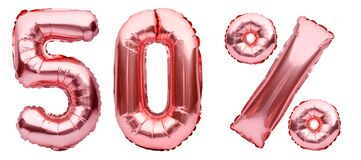 Rose golden fifty percent sign made of inflatable balloons isolated on white.Helium balloons, pink foil numbers. Sale decoration,
