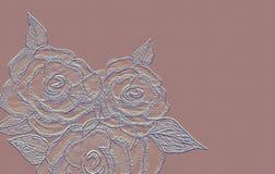Rose grabó en relieve en fondo rosado de la lona Arte exhausto del lápiz de la mano stock de ilustración