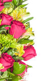 Rose, green chrysanthemum and orchid Royalty Free Stock Photos