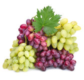 Rose and green grapes with leaf Stock Photo