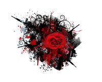 Rose, guns and hearts - grunge graffiti Stock Images