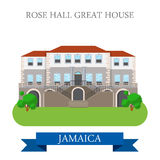 Rose Hall Great House in Jamaica vector flat attraction landmark Stock Photos