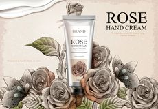 Rose hand cream ads. Exquisite hand cream product and creamy texture in 3d illustration with roses garden and butterflies in etching shading style royalty free illustration