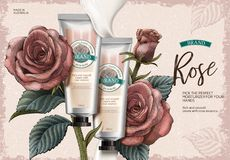 Rose hand cream ads Royalty Free Stock Images