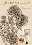 Rose hand cream ads. Exquisite hand cream product and golden label in 3d illustration with roses in etching shading style royalty free illustration