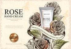 Rose hand cream ads Stock Photo