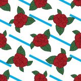 Rose hand drawn pattern on blue strips Stock Images
