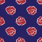 Rose hand drawn pattern on dark blue. Red rose hand drawn pattern on dark blue Royalty Free Stock Image