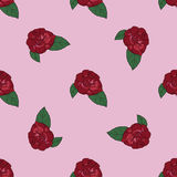 Rose hand drawn pattern on pink background Royalty Free Stock Images