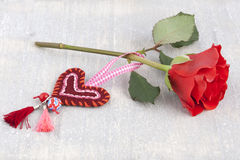 Rose and a handmade heart Royalty Free Stock Images