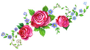 Rose 02. Handmade watercolor illustration of floral composition Royalty Free Stock Image