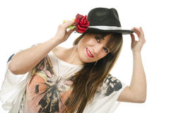 Rose, hat and girl. Stock Photos