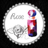 Rose. Health and Nature Collection. Aromatic rose oil (watercolor and graphic illustration Stock Images