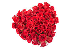 Rose heart. Fresh red roses heart isolated on white, clipping path included Royalty Free Stock Images