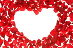 Rose heart. Composition of red rose petals in shape of heart, with copy space Stock Images