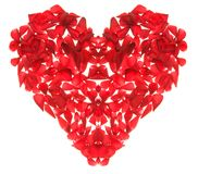 Rose heart. Composition of red rose petals in shape of heart Stock Photo