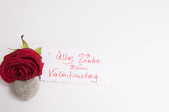 Rose and heart and Card Alles Liebe zum  Valentine's day Stock Images